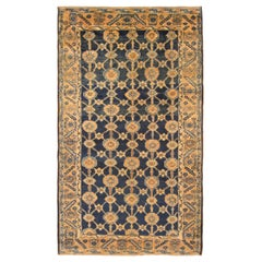 Antique Northwest Persian Oriental Rug, in Small Size, Blue Field & Repeating