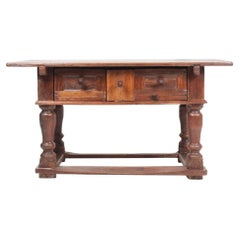 Antique Norwegian Baroque Table in Patinated Solid Oak, 18th Century