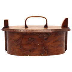 Antique Norwegian Bentwood Sewing Box 'Tine', Late 19th Century