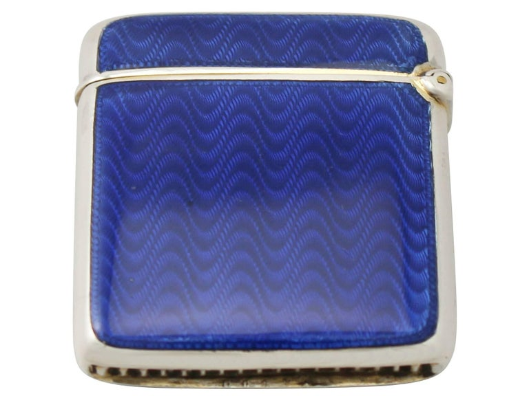 A fine antique sterling silver and guilloche enamel vesta case: part of our enameled silver collection