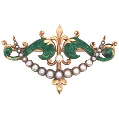 Antique Nouveau Style Pearl Yellow Gold Green Enamel Pin Brooch with Hanger