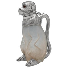 Antique Novelty Collectible Sterling Silver Monkey Claret Jug by Hodd & Son 1909