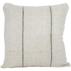 Antique Nubby 19th Century European Black Stripe Grain Sack Pillows