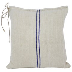 Antique Nubby 19th Century European Blue Stripe Grain Sack Pillows