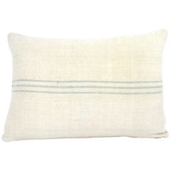 Antique Nubby 19th Century European Light Green/Grey Stripe Grain Sack Pillows