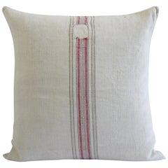 Antique Nubby 19th Century European Red and Tan Stripe Grain Sack Pillows