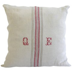 Antique Nubby 19th Century European Red and Tan Stripe with a Monogram Pillow