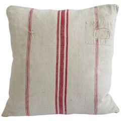 Antique Nubby 19th Century European Red Stripe Grain Sack Pillows