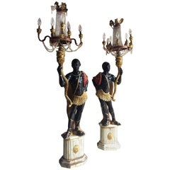 Antique Nubian Blackamoor Lamps Candelabrum Floor Lights Venetian Italian Wood