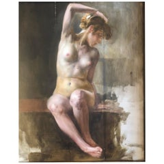 Antique Nude Painting by Bertalan Karlovszky