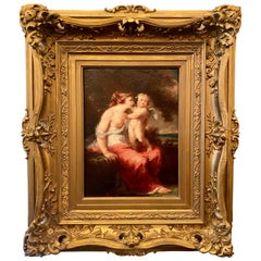 Antique Nude Woman and Cherub Oil Painting on Canvas, Original Frame, circa 1880