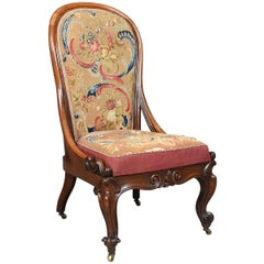 Antique Nursing Chair, English Walnut Needlepoint Tapestry Victorian, circa 1840