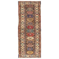 Antique N.W. Persian Gallery Rug in Jewel Tones with Diamond Geometric Motifs