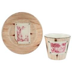 Antique Nymphenburg Trompe L'Oeil Faux Bois Porcelain Demitasse Cup and Saucer