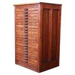 Antique Oak 20-Drawer Blueprint Flat File Cabinet by Hamilton, Circa 1900