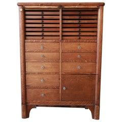 Antique Oak 22-Drawer Dental Cabinet