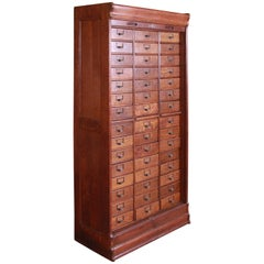 Antique Oak 45-Drawer Cabinet with Roll Down Tambour Door, circa 1900