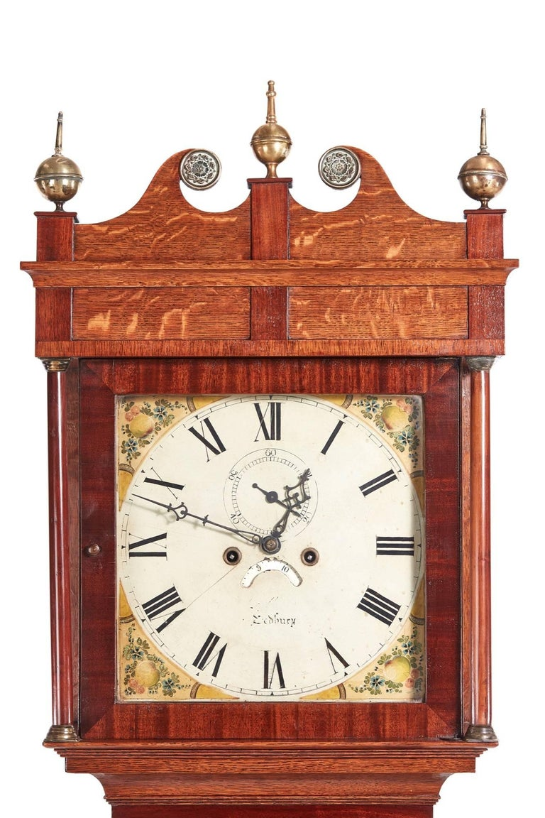 Early Victorian Antique Oak 8 Day Longcase Clock For Sale