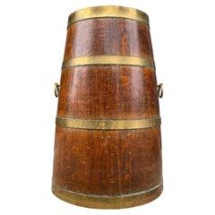 Antique Oak and Brass Long Barrel Shape Umbrella / Sticks Stand w Bronze Handles