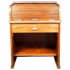 Antique Oak and Brass Rolltop Desk, circa 1930