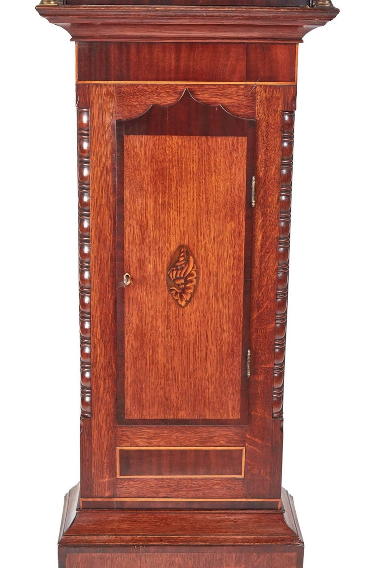 George III Antique Oak and Mahogany Inlaid 8 Day Grandfather Clock For Sale