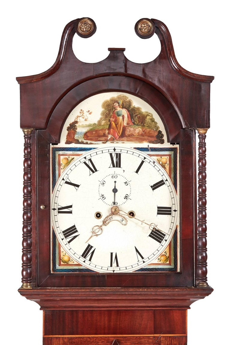 European Antique Oak and Mahogany Inlaid 8 Day Grandfather Clock For Sale