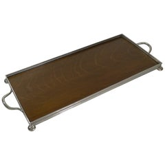 Antique Oak and Silver Plate Drinks / Cocktail Tray, circa 1900