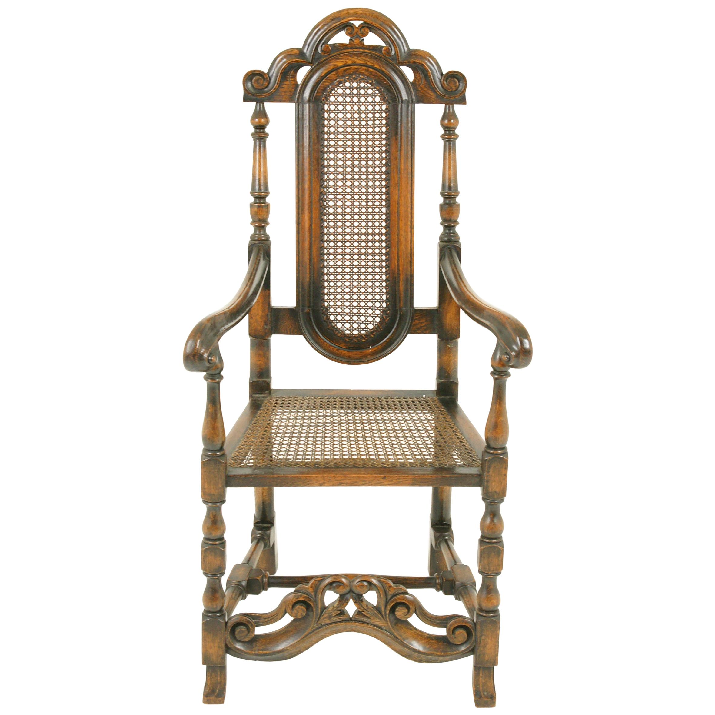 Antique Oak Armchair, William and Mary Carved Oak Armchair, Scotland, 1920