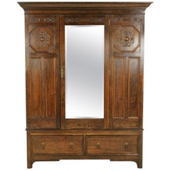 Antique Oak Armoire, Antique Wardrobe, Jacobean Revival Armoire, Scotland