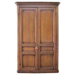 Antique Oak Armoire Cupboard