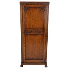 Antique Oak Armoire, Tiger Oak Jacobean Revival Closet, Scotland 1910, B2015