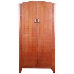 Antique Oak Art Deco Skyscraper Wardrobe or Linen Press by Lebus, circa 1930s