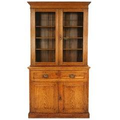 Antique Oak Art Nouveau Secrétaire Cabinet, Bookcase, Scotland 1910, 1752