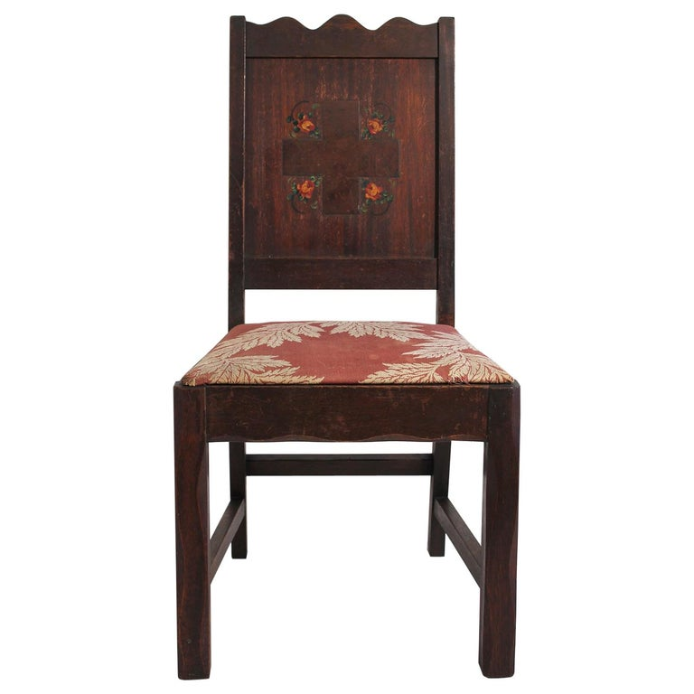 Antique Oak Arts & Crafts Hand Painted Monterey Mission Accent Chair from Church