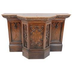 Antique Oak Bar, Gothic Revival Carved Oak Pulpit, Scotland 1890, B2056