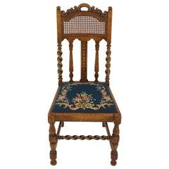 Antique Oak Barley Twist Chair, Needlepoint Seat, Scotland 1920, B2101