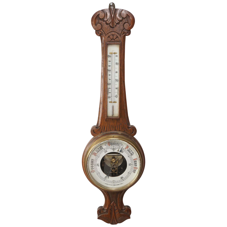 Antique Oak Barometer, Carved Oak Aneroid Barometer, Scotland, 1910