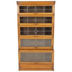 Antique Oak Bookcase, 5-Tier Sectional, Leaded Glass, Scotland 1920, B1865