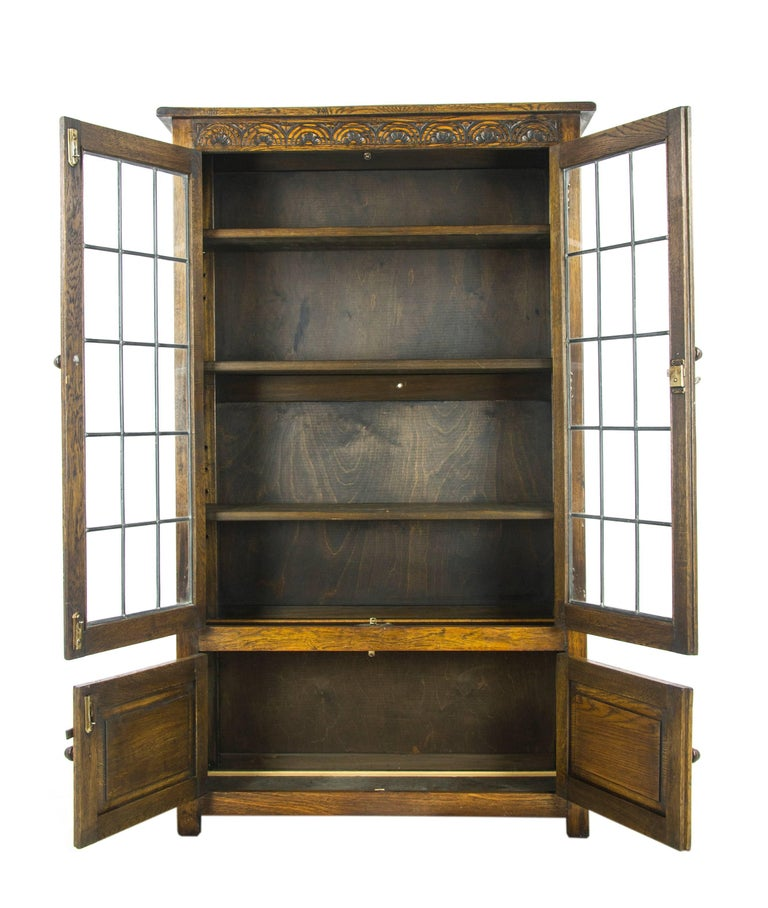 Antique Oak bookcase, antique bookcase, leaded glass bookcase, Scotland,  1930, antique - Antique Oak Bookcase, Antique Bookcase, Leaded Glass Bookcase