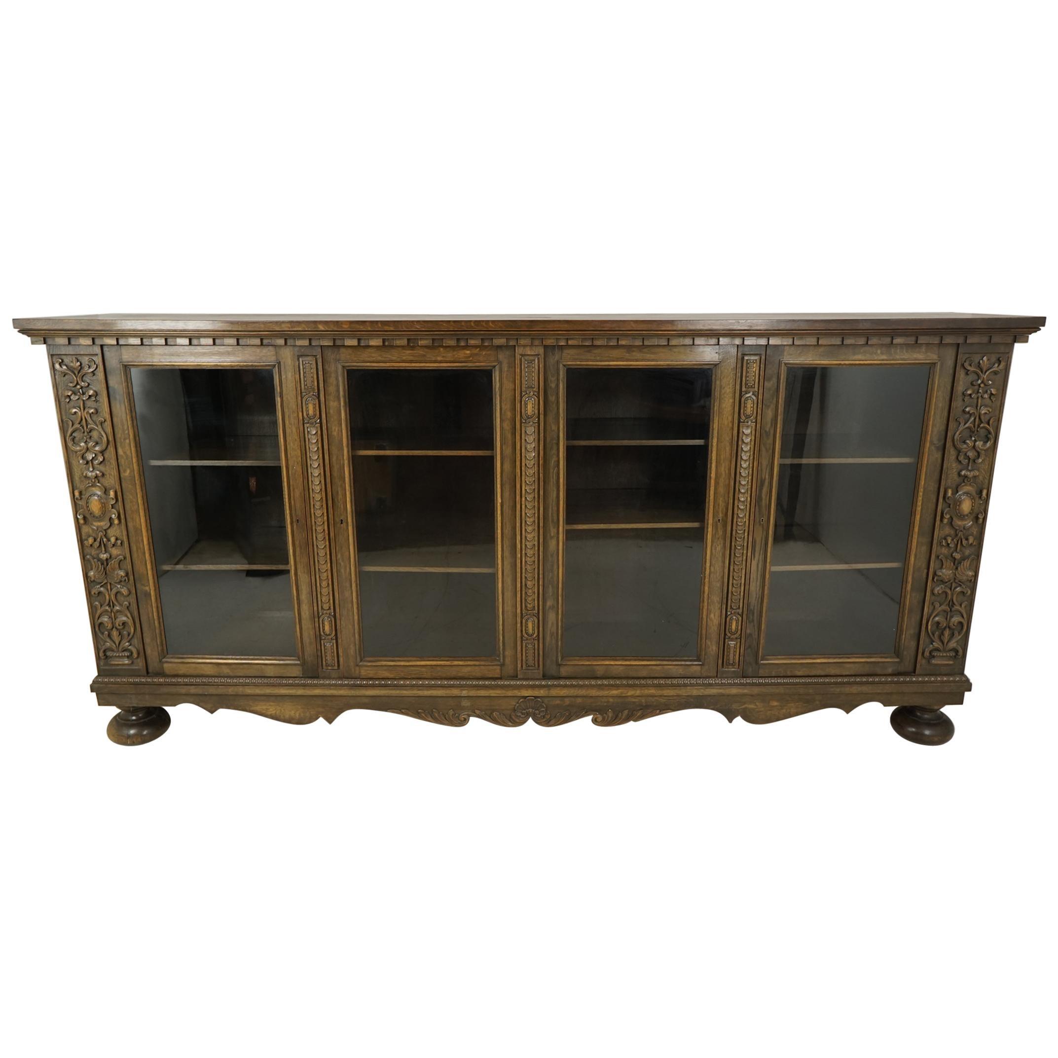 Antique Oak Bookcase, Carved Oak, Four-Door, Display Cabinet, Denmark 1920 B2260