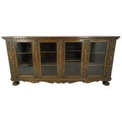 Antique Oak Bookcase, Carved Oak, Four-Door, Display Cabinet, Denmark 1920 B2260