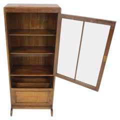 Antique Oak Bookcase, Display Cabinet with Magazine Holder, Scotland 1930, B1914