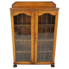 Antique Oak Bookcase, Edwardian Leaded Glass Bookcase, Scotland 1910