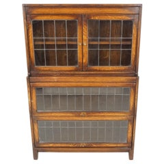 Antique Oak Bookcase, Leaded Glass Stacking Bookcase, Scotland 1920, B1866