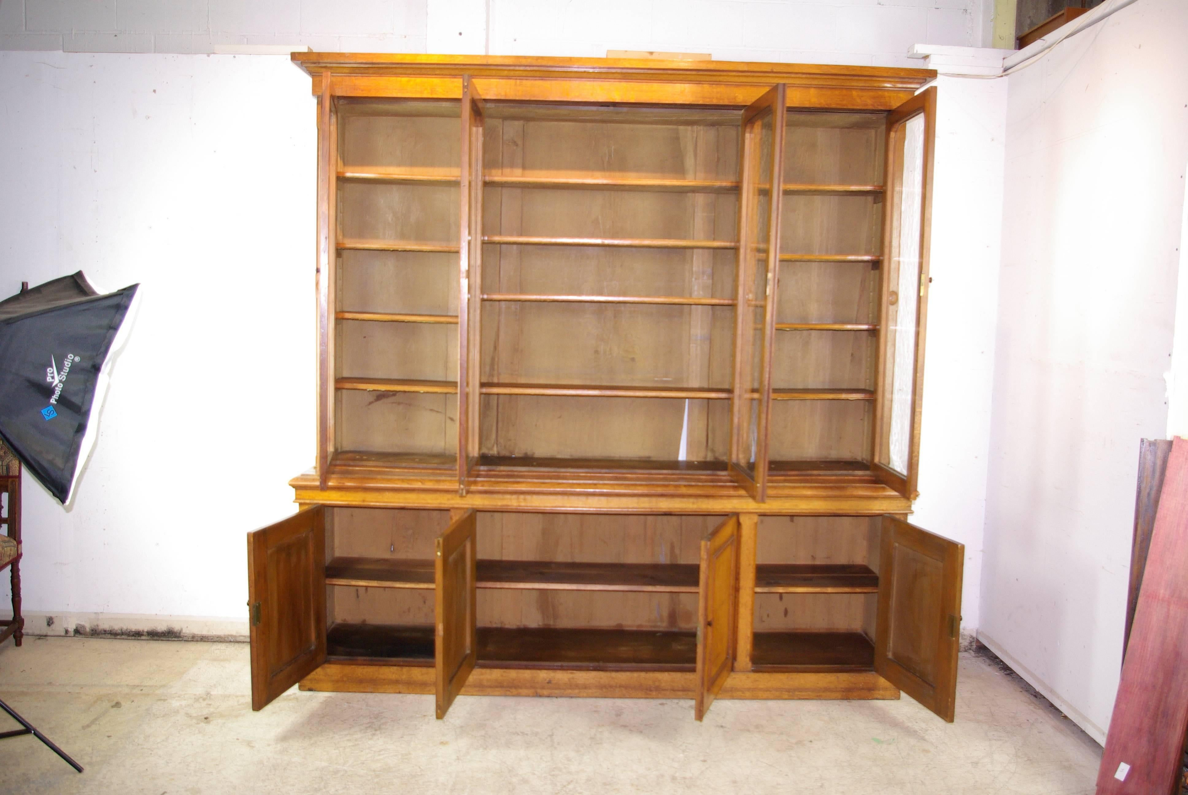 Antique Oak Bookcase, Library Bookcase, Tiger Oak Bookshelves, 1870, B1043
