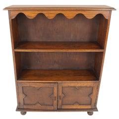 Antique Oak Bookcase, Open Bookcase with Cupboards Below, Scotland 1920, B1892