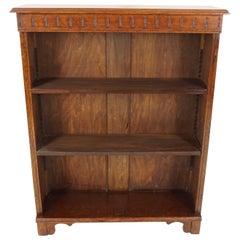 Antique Oak Bookcase, Open Display Cabinet, Scotland 1920, B2222