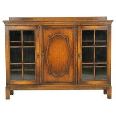 Antique Oak Bookcase, Three-Door Tiger Oak Display Cabinet, Scotland 1910, B1669