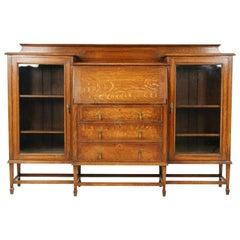 Antique Oak Bookcase, Tiger Oak Slant Front Desk, Scotland 1920, B1657