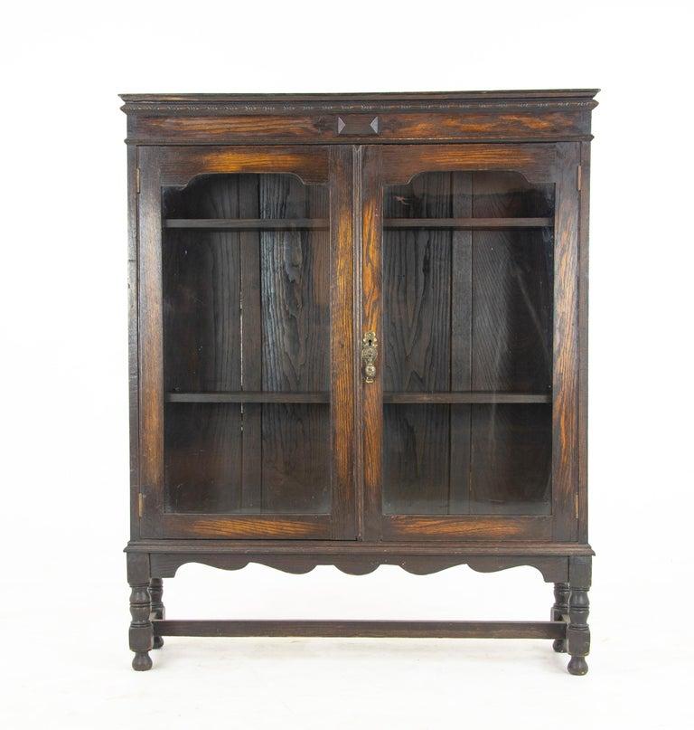 Antique oak bookcase, two-door oak bookcase, Scotland 1920, Antique  Furniture, - Antique Oak Bookcase, Two-Door Oak Bookcase, Scotland 1920, B1227